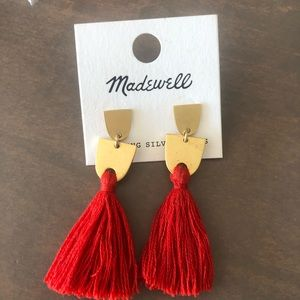 Madewell red and gold tassel earrings